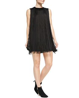 Rachel Zoe Sleeveless Fringe Shift Dress