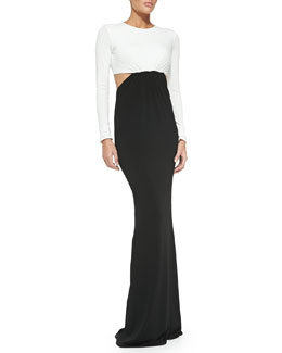 Rachel Zoe Vera Two-Tone Cutout Maxi Dress