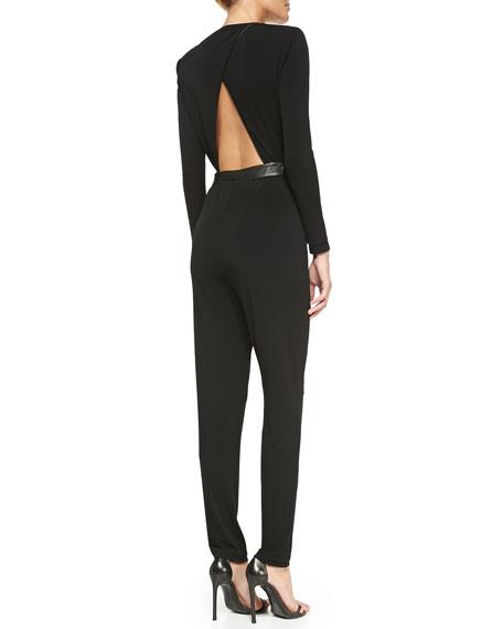 Shiloh Leather-Waist Jersey Jumpsuit