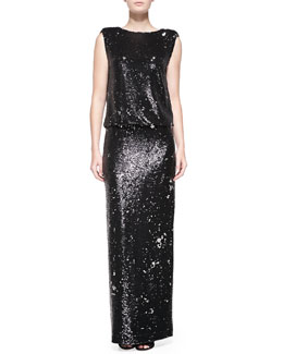 Rachel Zoe Collett Sequined Blouson-Bodice Gown