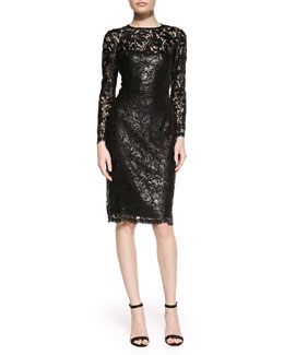 Kalinka Lace Overlay Slim Cocktail Dress