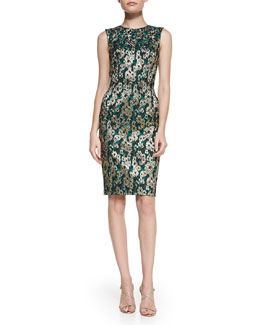 Kalinka Sleeveless Brocade Sheath Dress