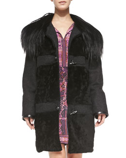 Nanette Lepore Fur-Collar Toggle-Front Coat