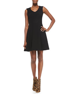 Nanette Lepore Stretch Ottoman Knit Fit-and-Flare Dress, Black
