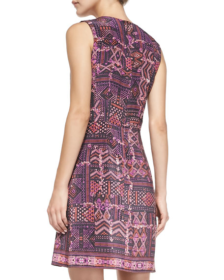 Sleeveless Carpet-Print Dress