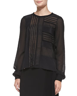 Nanette Lepore Long-Sleeve Patchwork & Ponte Top