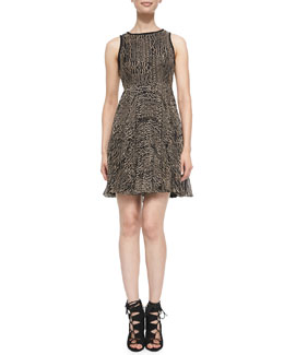 Nanette Lepore Pleated Embroidered Dress