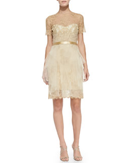 Notte by Marchesa Short-Sleeve Lace & Tulle Cocktail Dress