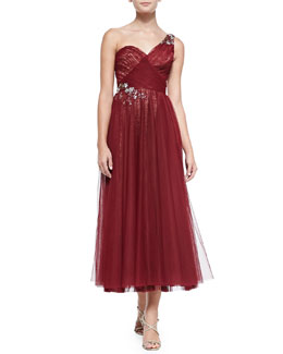 One-Shoulder Embroidered Tulle Cocktail Dress