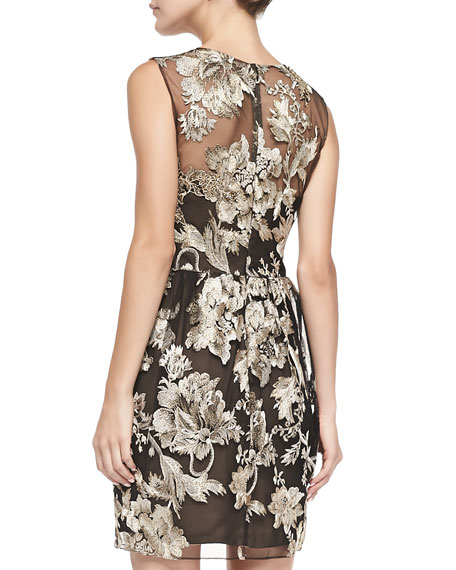 Floral-Embroidered Overlay Cocktail Dress