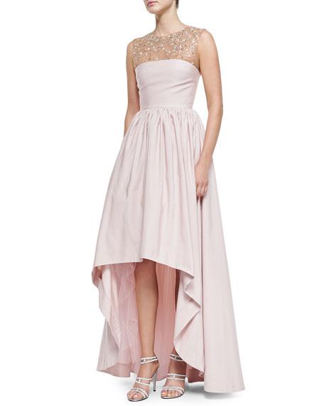 Sleeveless Beaded Illusion-Neck Gown