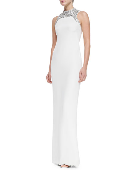 Sleeveless Beaded-Neck Column Gown
