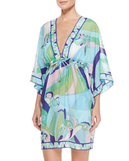 Emilio Pucci Printed Sheer Chiffon Short Coverup