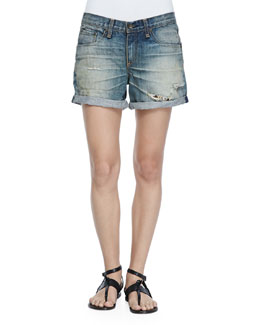 Rolled-Cuff Boyfriend Shorts, Surfer Repair