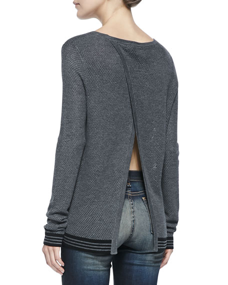 Nikki Split-Back Sweater W/ Striped Trim