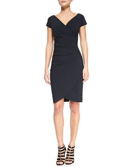 La Petite Robe di Chiara Boni Emerentienne Faux-Wrap Jersey Cocktail Dress, Navy