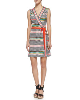 Copricost Printed/Striped Wrap Dress