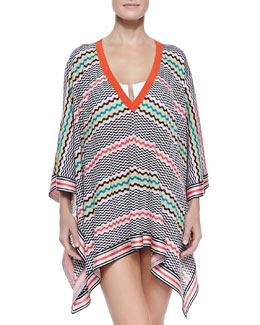 Wavy-Pattern Knit Poncho Coverup