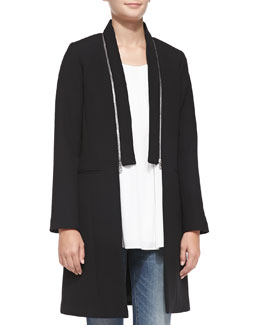 Milly Bonded Crepe Zip-Collar Coat