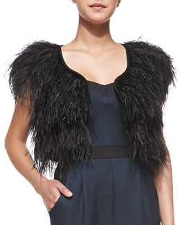 Milly Ostrich-Feather Cocktail Bolero
