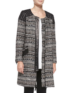 Milly Mixed-Fabric Quilted-Shoulder Coat