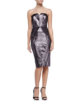 Milly Monica Metallic Jacquard Strapless Dress