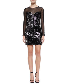 Milly Anouck Mesh-Top Sequined Dress