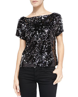 Milly Scoop-Back Sequined Mesh Tee