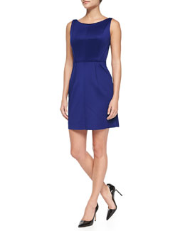 Milly Seam-Detail Shift Dress, Cobalt