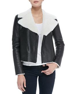 Alice + Olivia Front-Zip Shearling Moto Jacket