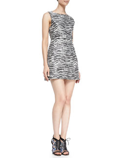 Alice + Olivia Everleigh Sleeveless Metallic Dress