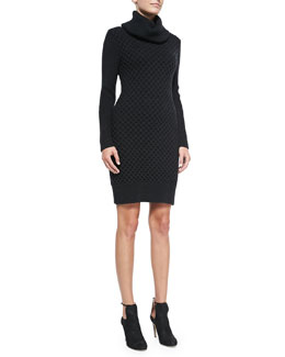 Alice + Olivia Chunky Turtleneck Long-Sleeve Dress
