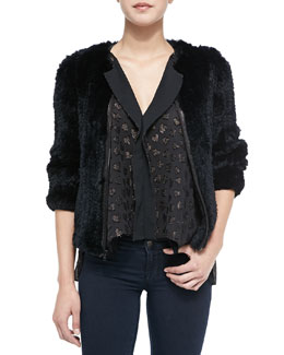 Alice + Olivia Duncan Rabbit Fur/Lambskin Jacket