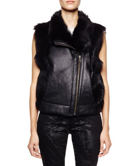 Helmut Lang Pillar Leather/Lamb Fur Vest