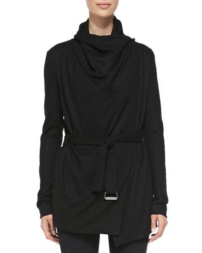 Sonar Wool Drape-Neck Trench, Black