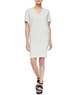 Helmut Lang Sonar Wool V-Neck Easy Dress, Felsic