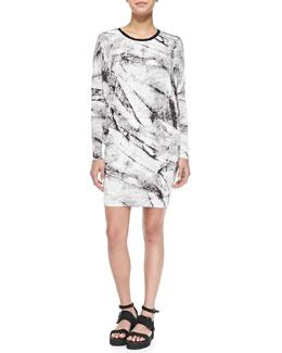 Helmut Lang Terrene Long-Sleeve Marble-Print Dress