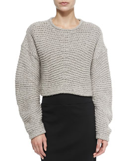 Helmut Lang Cropped Soft Grid-Pattern Pullover, Dust