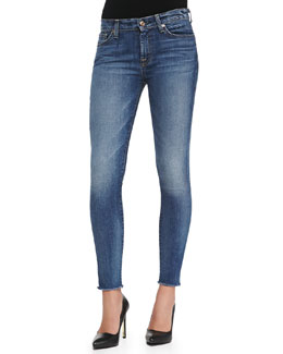 7 For All Mankind The Ankle Skinny Destroyed Raw-Hem Jeans