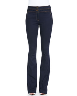 Flare-Leg Dark Stretch Jeans