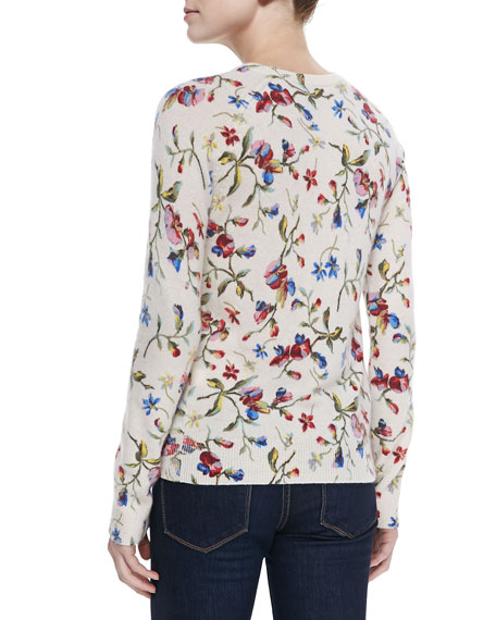 Cashmere Sloane Floral-Print Sweater