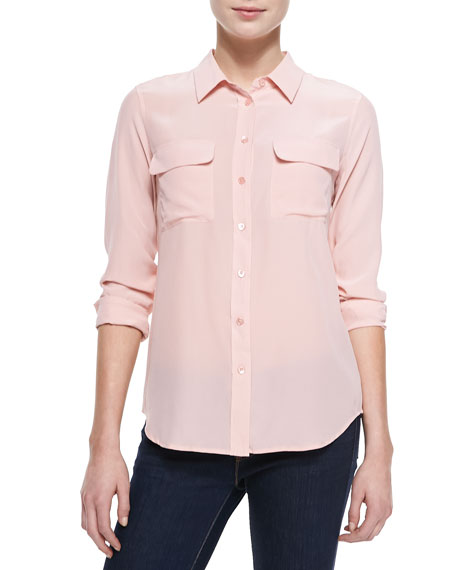 Slim Signature Silk Blouse, Pink