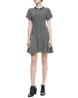 Rag & Bone Watson Flared Micro Houndstooth Dress