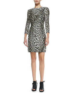 3/4-Sleeve Fitted Leopard Dress