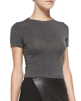 Alice + Olivia Short-Sleeve Crewneck Crop Top