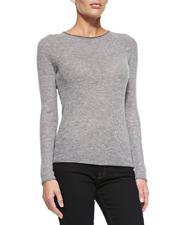 Elie Tahari Carly Ribbed Long-Sleeve Sweater, Gray