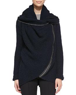 Elie Tahari Nikki Ribbed Curved-Zip Sweater