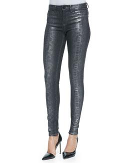 Elie Tahari Azella Foiled Snake-Print Jeans