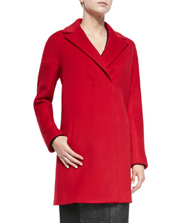 Elie Tahari Dalia Double-Breast Hidden-Placket Coat