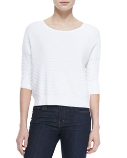 Bubble-Pattern Boxy Knit Top